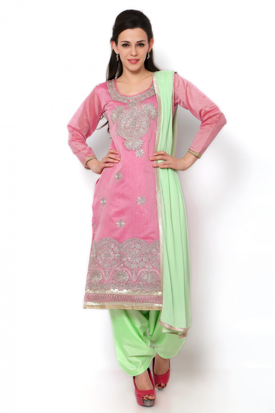 Buy Pink Chanderi Dress Material with Bottom and Dupatta Online