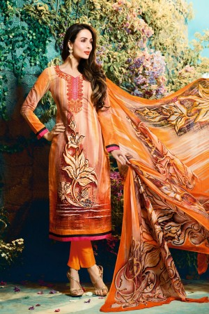 Buy Malaika Arora Light Orange Cotton Digital Print Dress Material with Pure Chiffon Dupatta Online