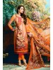 Malaika Arora Light Orange Cotton Digital Print Dress Material with Pure Chiffon Dupatta