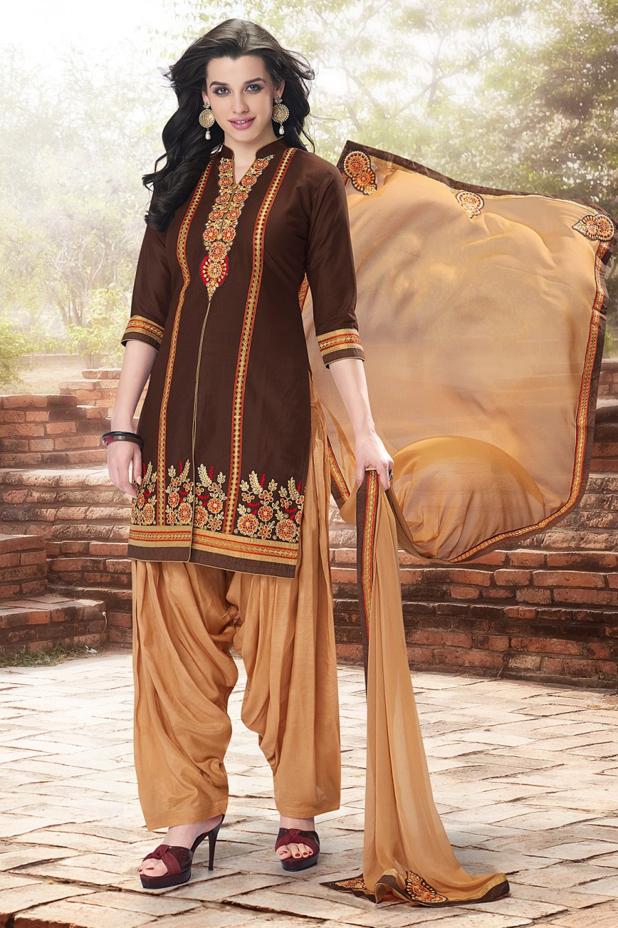 Buy Brown Cotton Embroidered Dress Material with Bottom and Dupatta Online