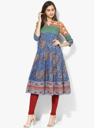 Buy Rain & RainbowBlue Printed Cotton Anarkali Online