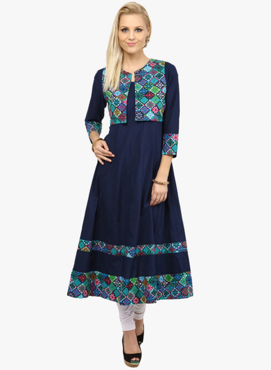 07cacdab43f5 Get NayoNavy Blue Printed Anarkali With Jacket at best price