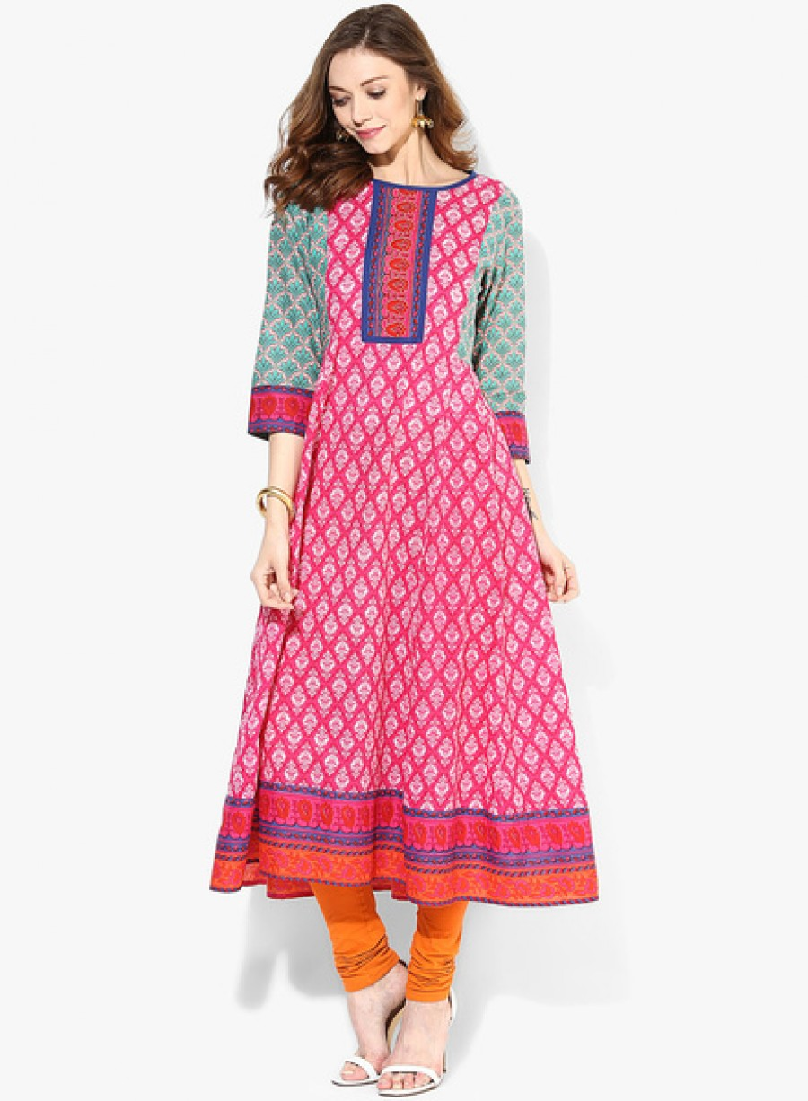 Buy SangriaKalidar Kurta With Contrast Printed 3/4Th Sleevess Online