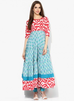Buy Sangria3/4Th Sleeves Tier Anarkali With Contrast Printed Yoke And Embroidery High Light Online