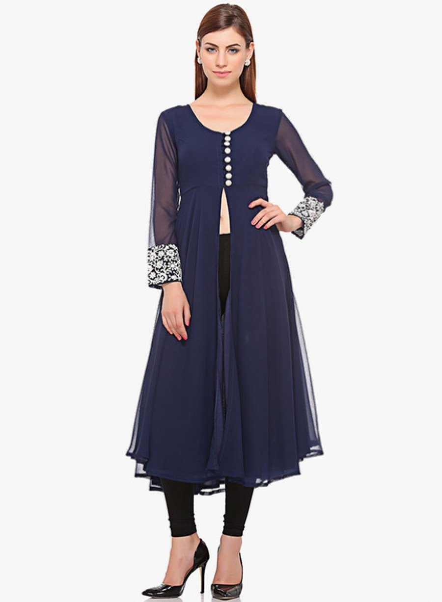 Buy ITINavy Blue Embroidered Kurta Online