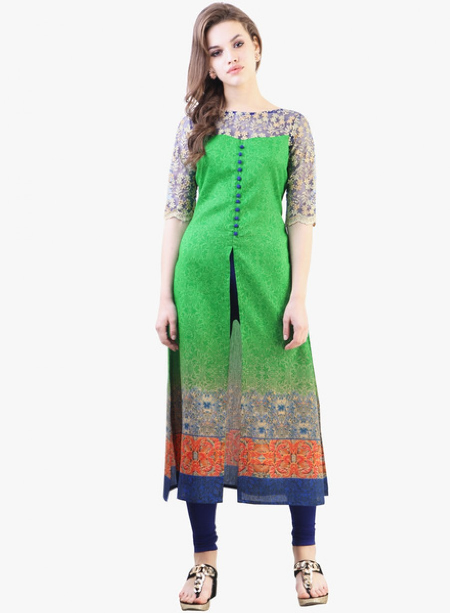 Buy LibasGreen Embroidered Kurta Online
