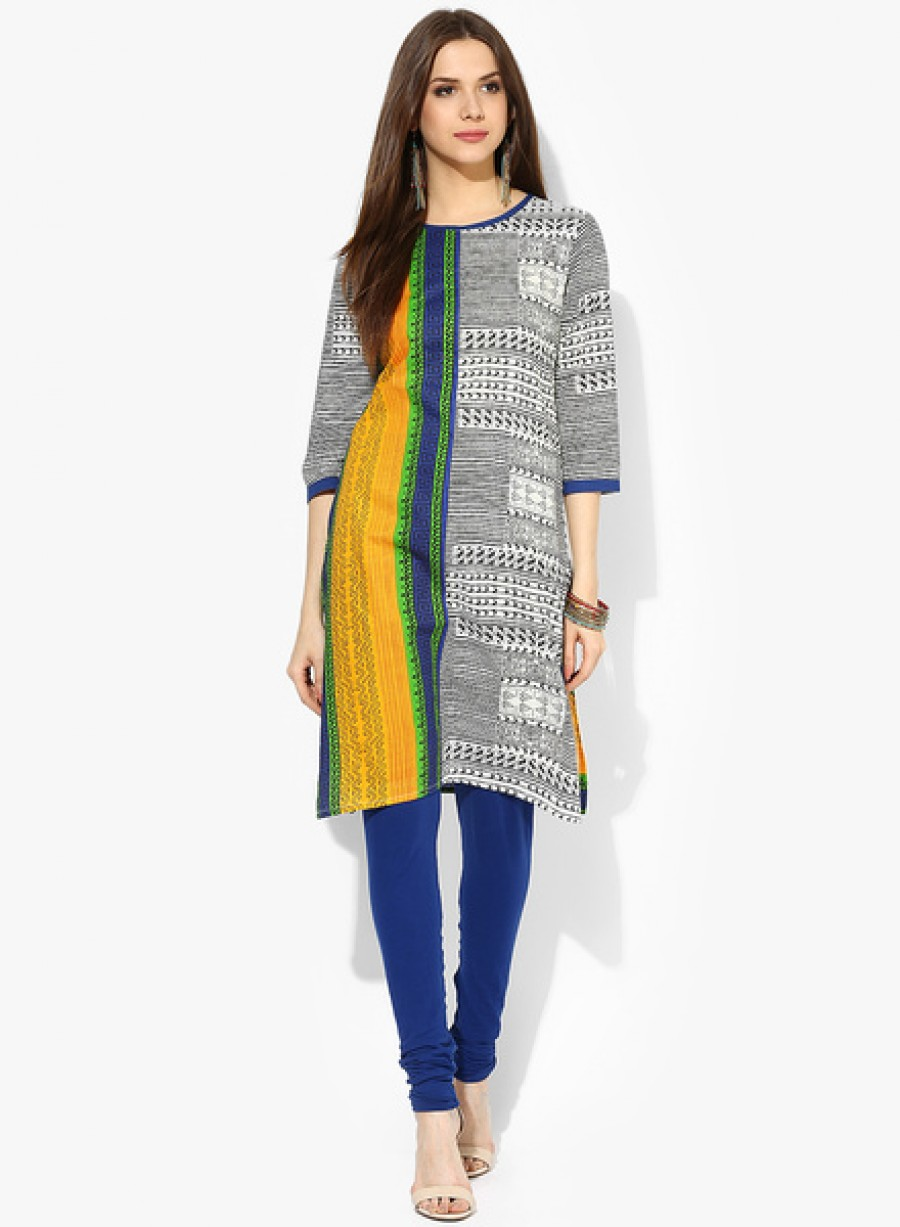 Buy SangriaPrinted Kurta With Round Neck Online