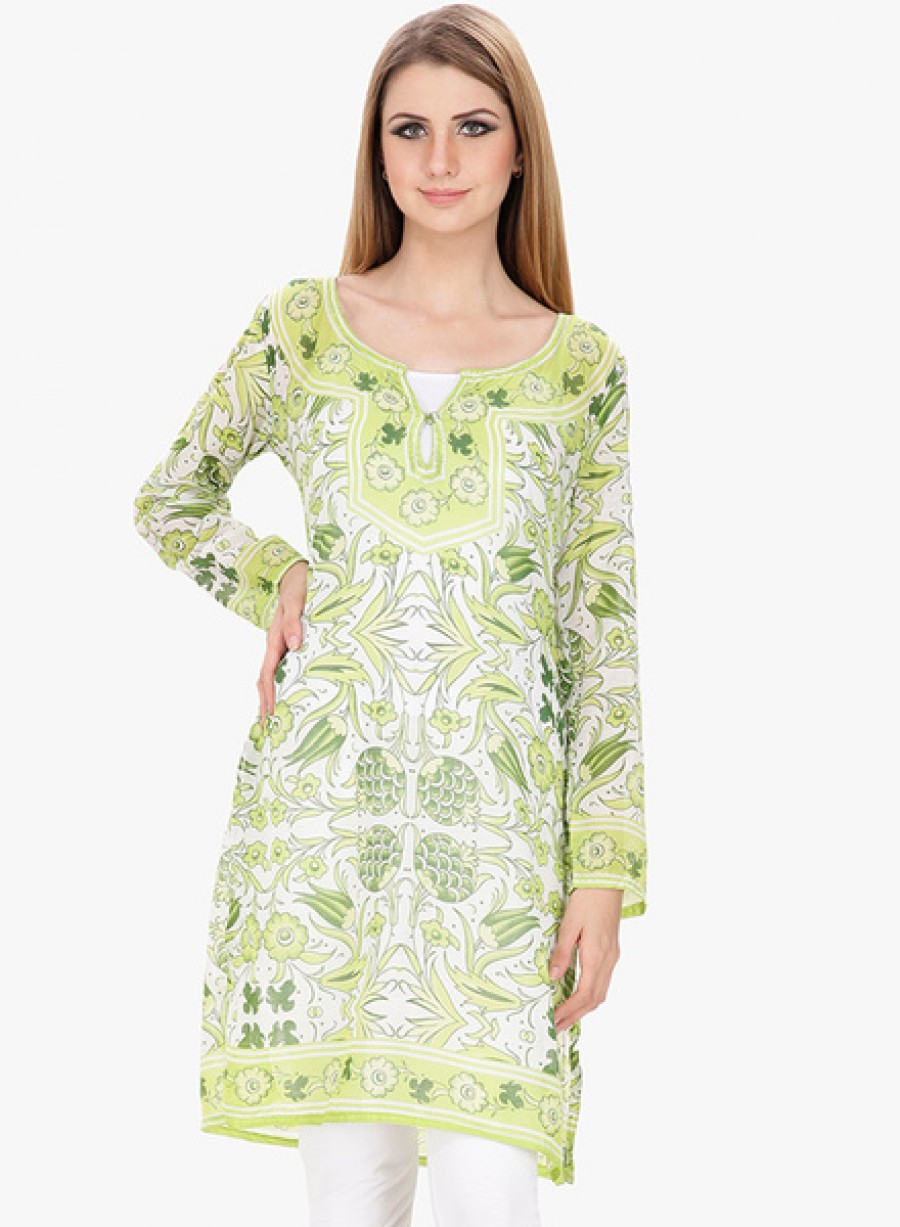 Buy Famous by Payal KapoorGreen Printed Kurti Online