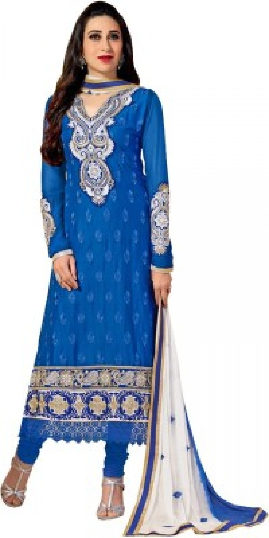 Buy Style Mania Cotton Embroidered Semi-stitched Salwar Suit Dupatta Material Online