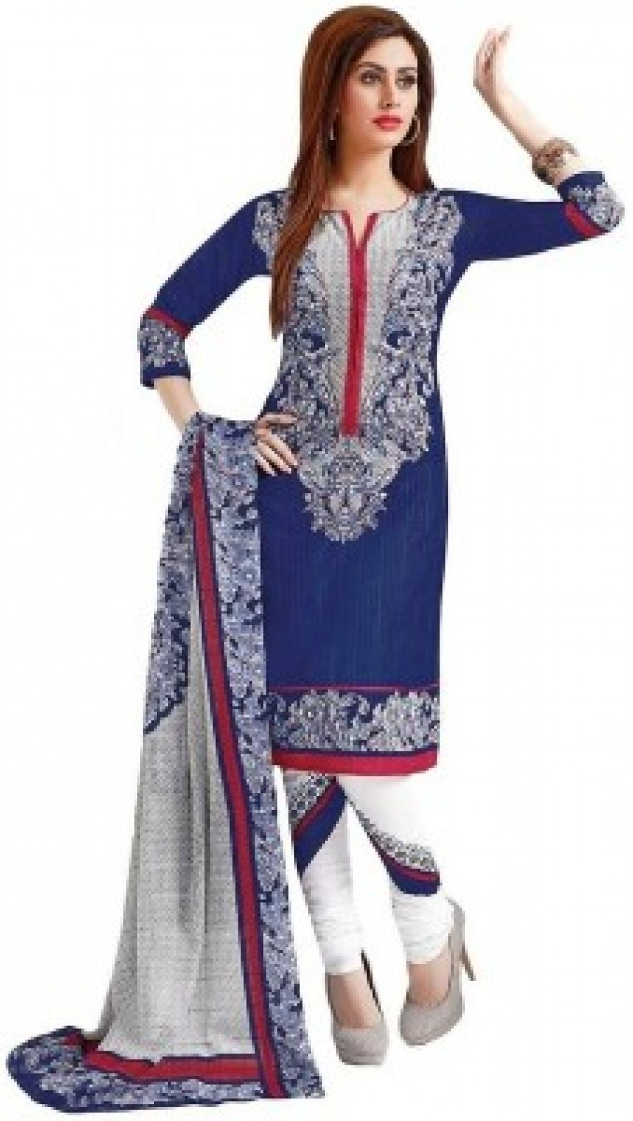 Buy TG Shoppers Cotton Printed Salwar Suit Dupatta Material Online