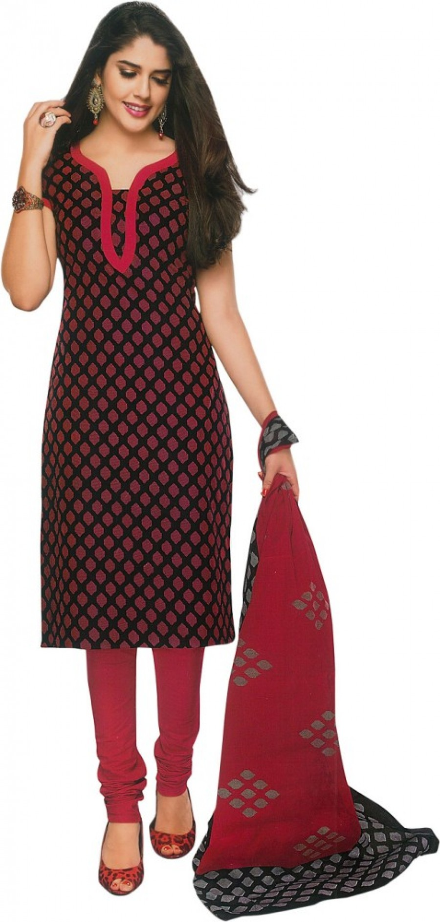 Buy Shree Ganesh Cotton Geometric Print Salwar Suit Dupatta Material Online
