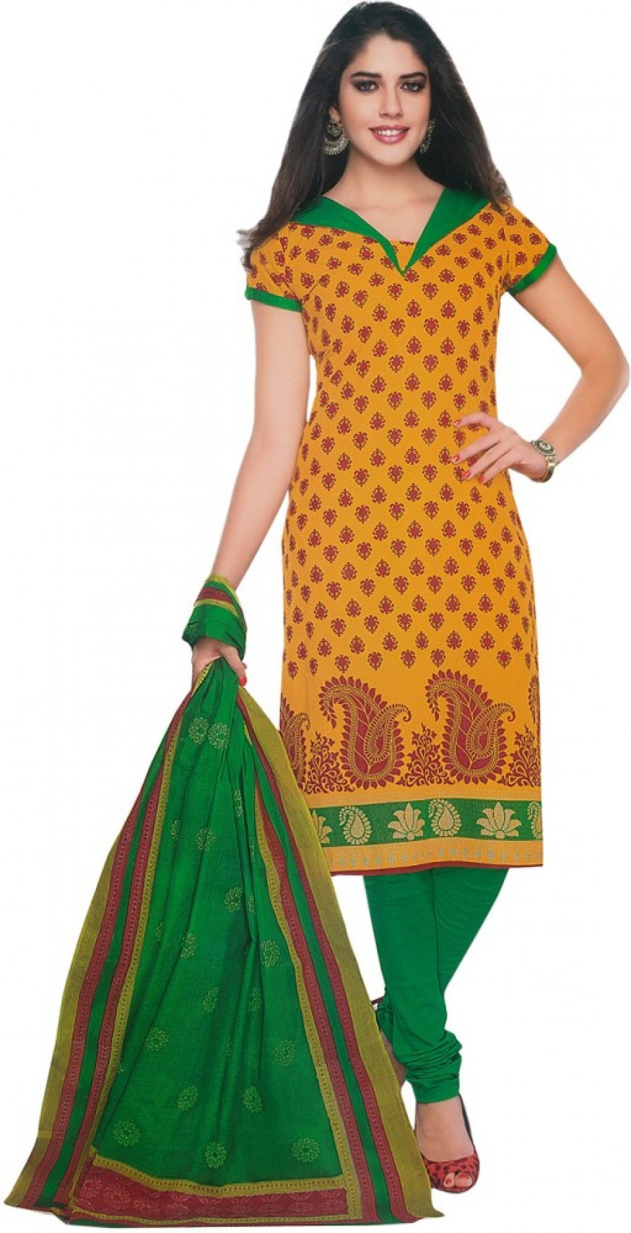 Buy Shree Ganesh Cotton Printed Salwar Suit Dupatta Material Online