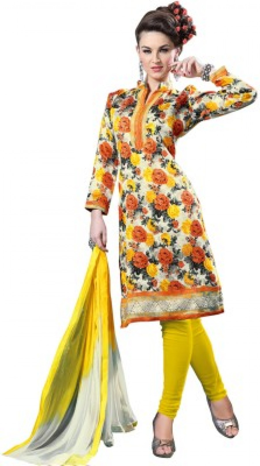 Buy Shree Plus Floral Print Kurta & Churidar Online