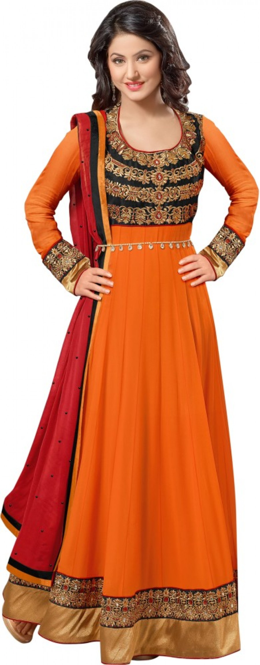 Buy Cutie Pie Chiffon Embroidered Semi-stitched Salwar Suit Dupatta Material Online