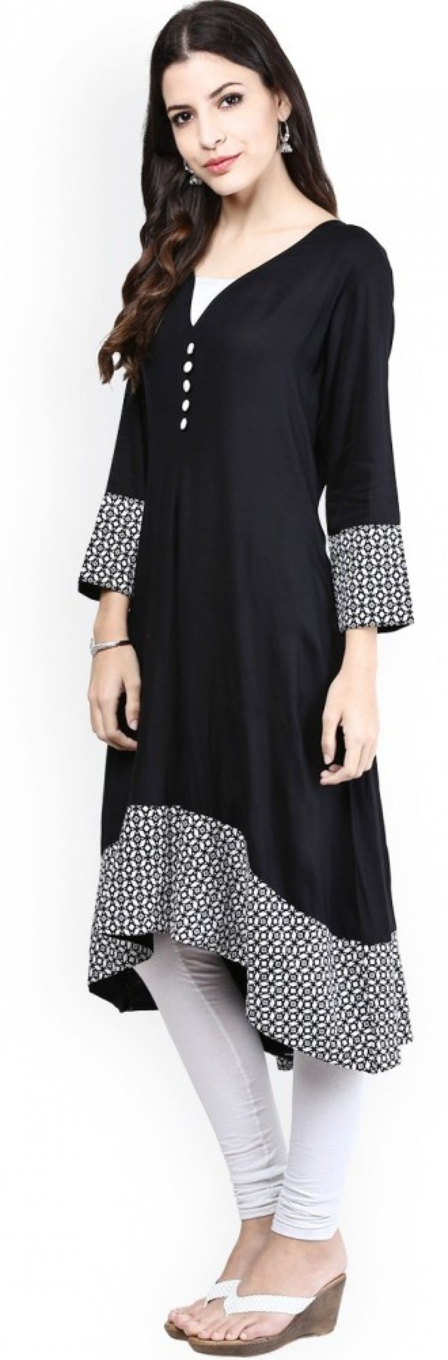 Buy Ethnic For You Casual, Party, Festive Self Design Women Kurti Online