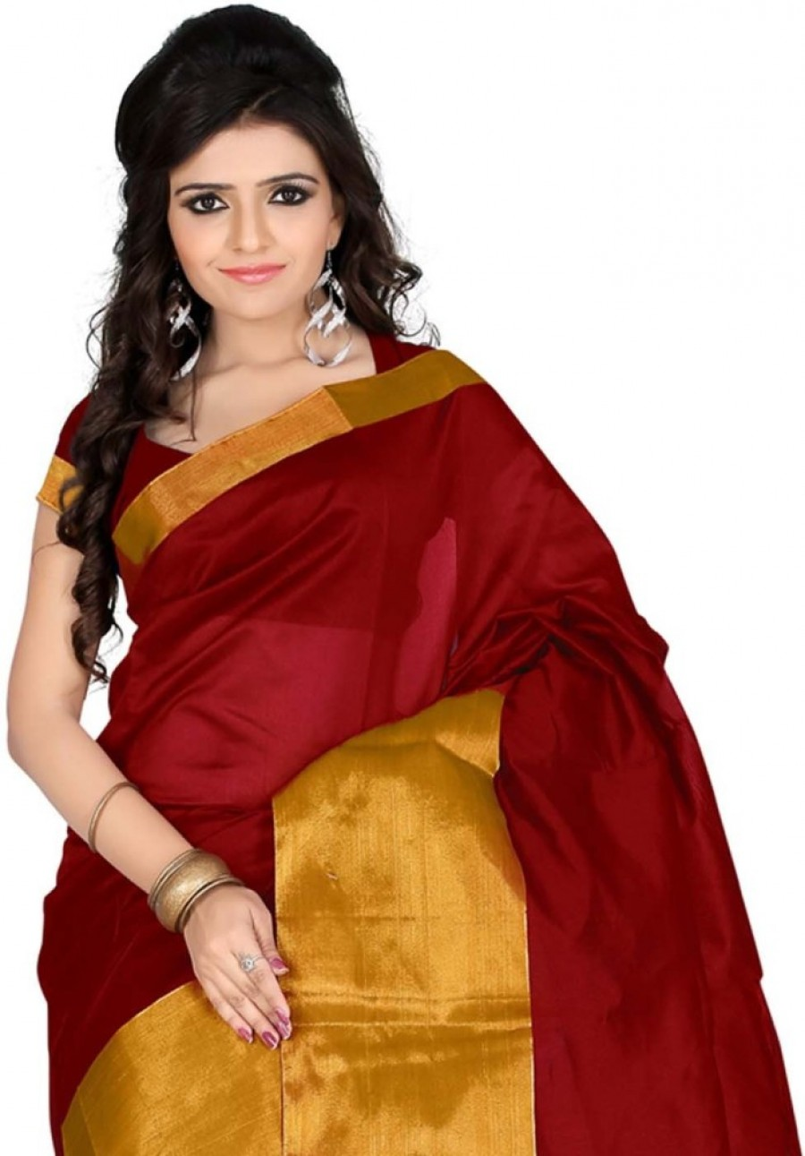 Buy Roopkala Silks Plain Chanderi Polycotton Sari Online