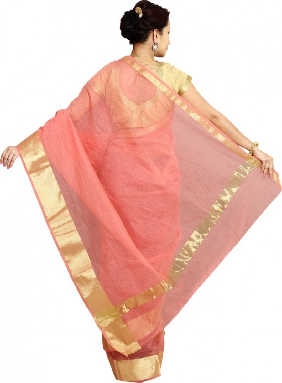 Buy Pavechas Self Design Banarasi Silk Cotton Blend Sari Online