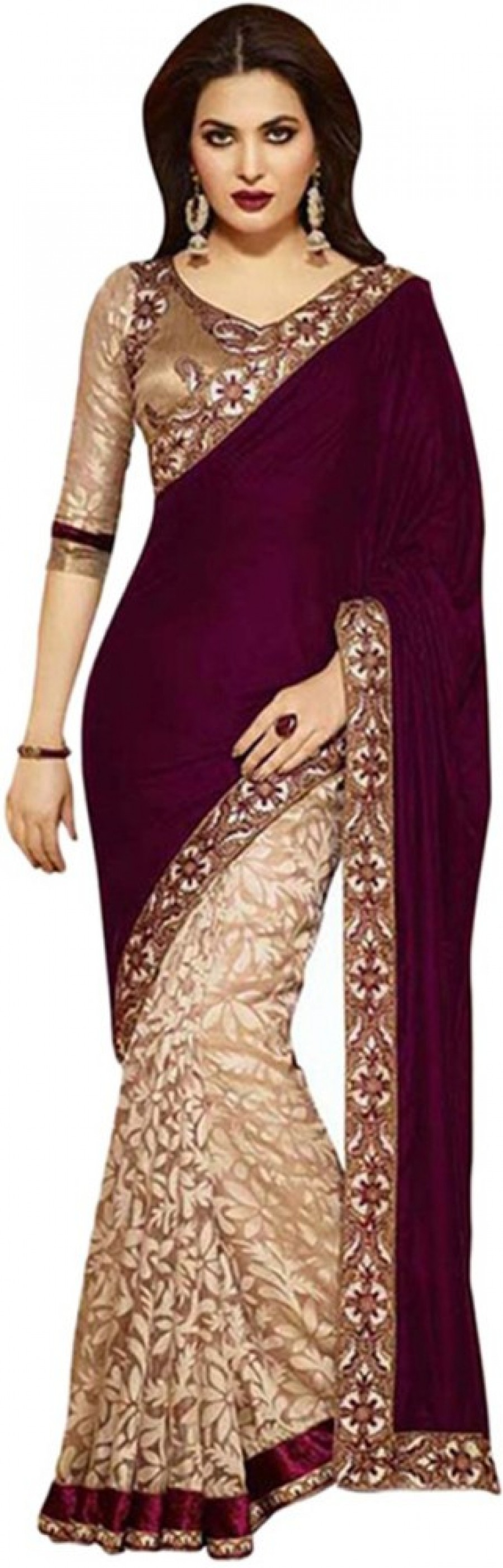 Buy Ramadev Fashion Embriodered Bollywood Velvet Sari Online
