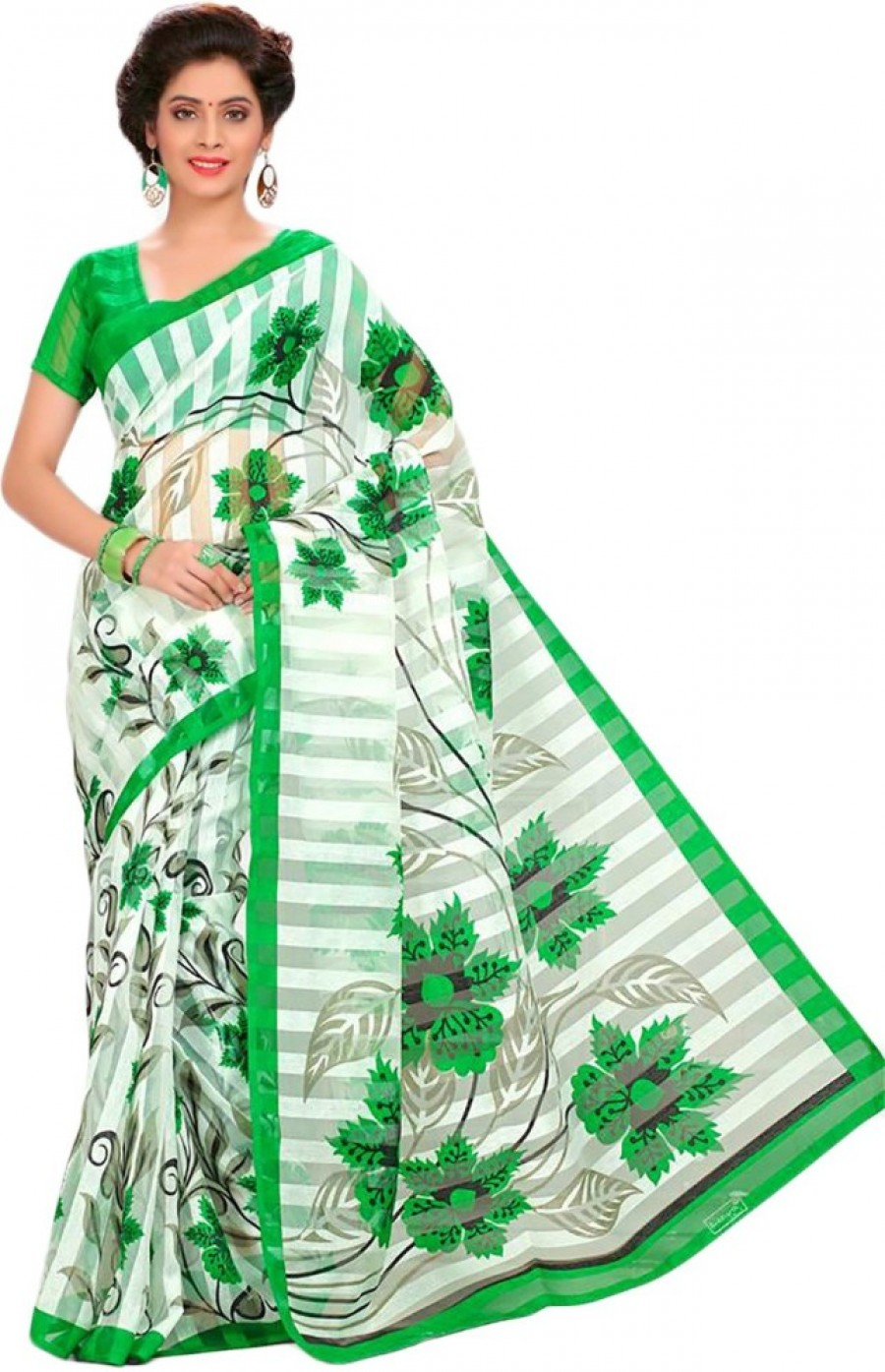 Buy Shree Vaishnavi fashion Printed Bhagalpuri Brasso, Cotton Linen Blend Sari Online