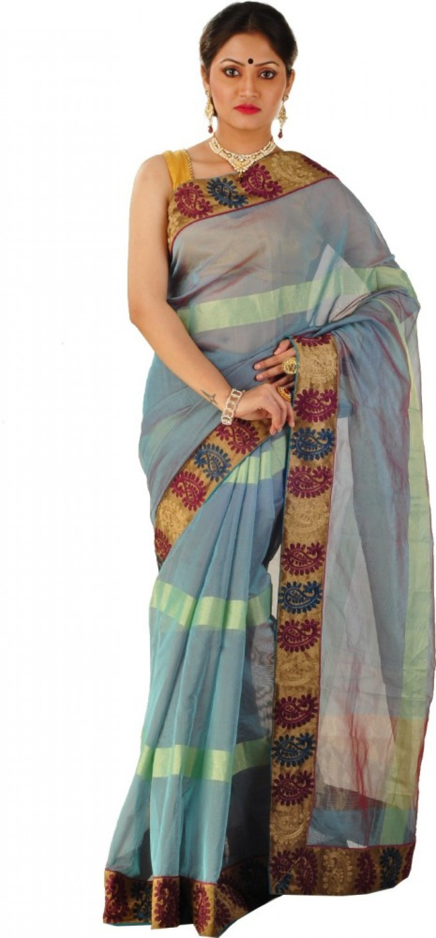 Buy ZOBHITA Solid, Striped, Woven Chanderi Handloom Chanderi, Synthetic Sari Online