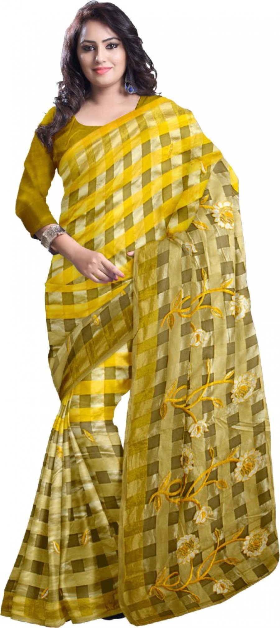 Buy Komal Sarees Self Design, Woven Chanderi Chanderi, Synthetic Sari Online