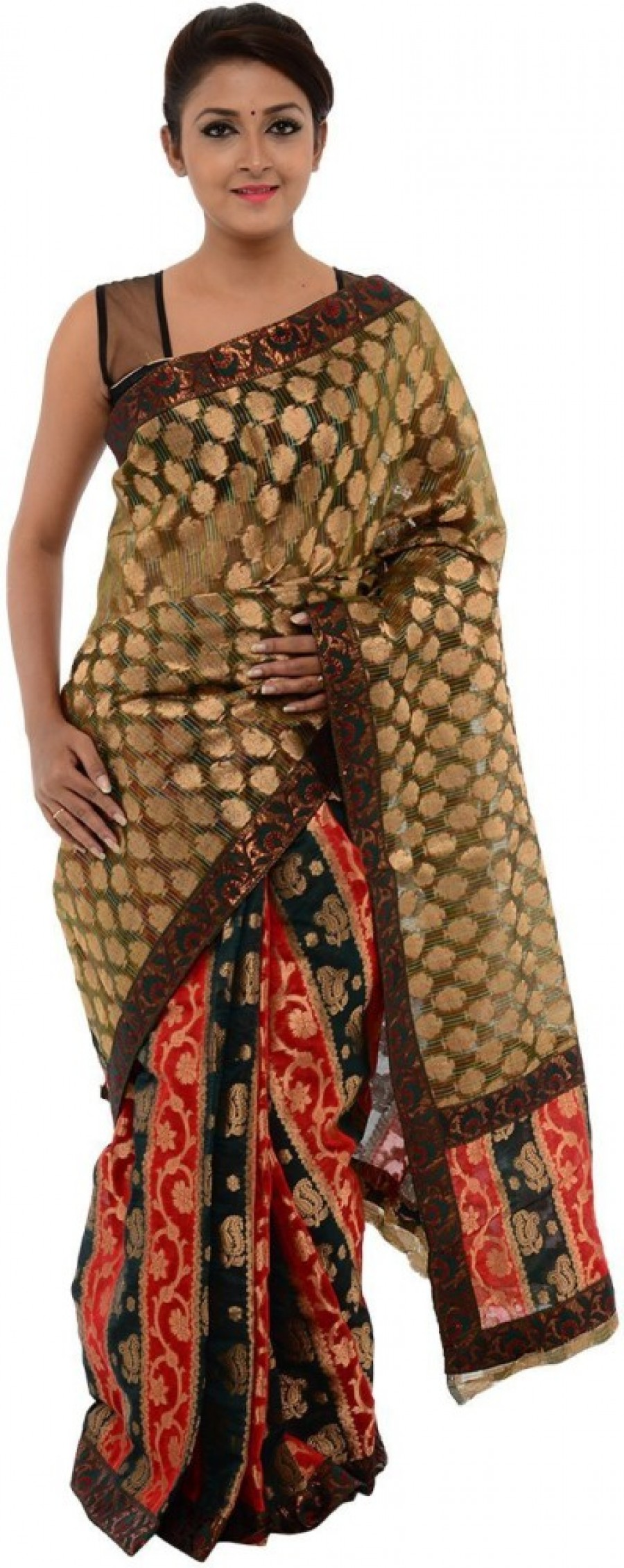 Buy Annapurna Sarees Self Design Chanderi Chanderi, Net Sari Online