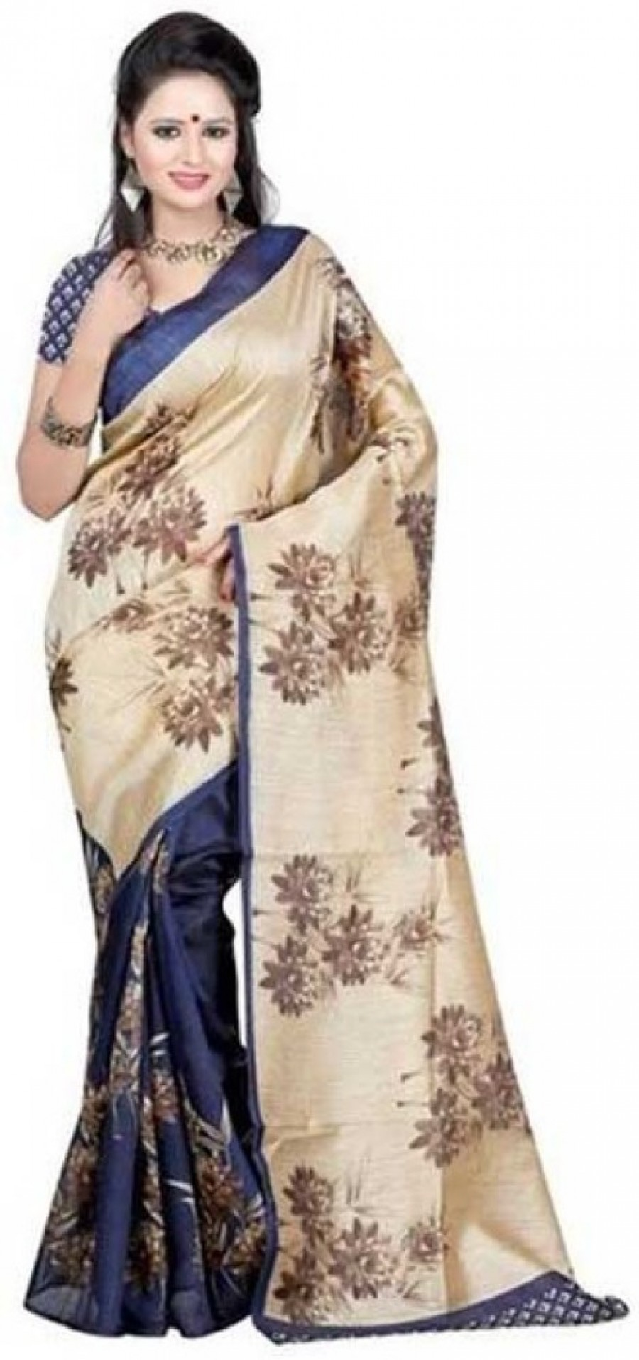 Buy Kyara Printed Chanderi Cotton Sari Online