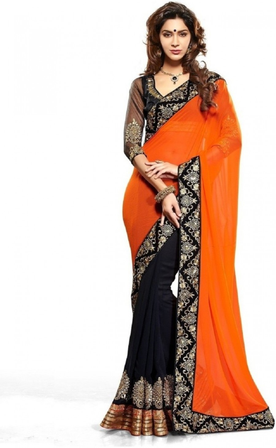Buy Lordshiv Embriodered Chanderi Lace Sari Online