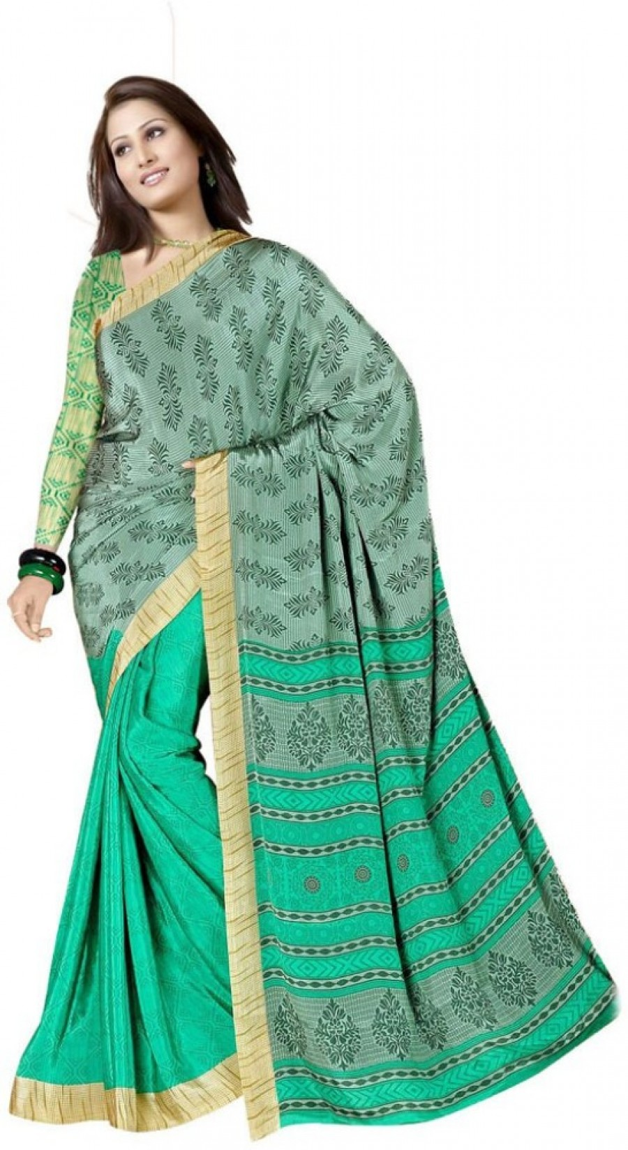 Buy Generation Touch Printed Chanderi Crepe Sari Online