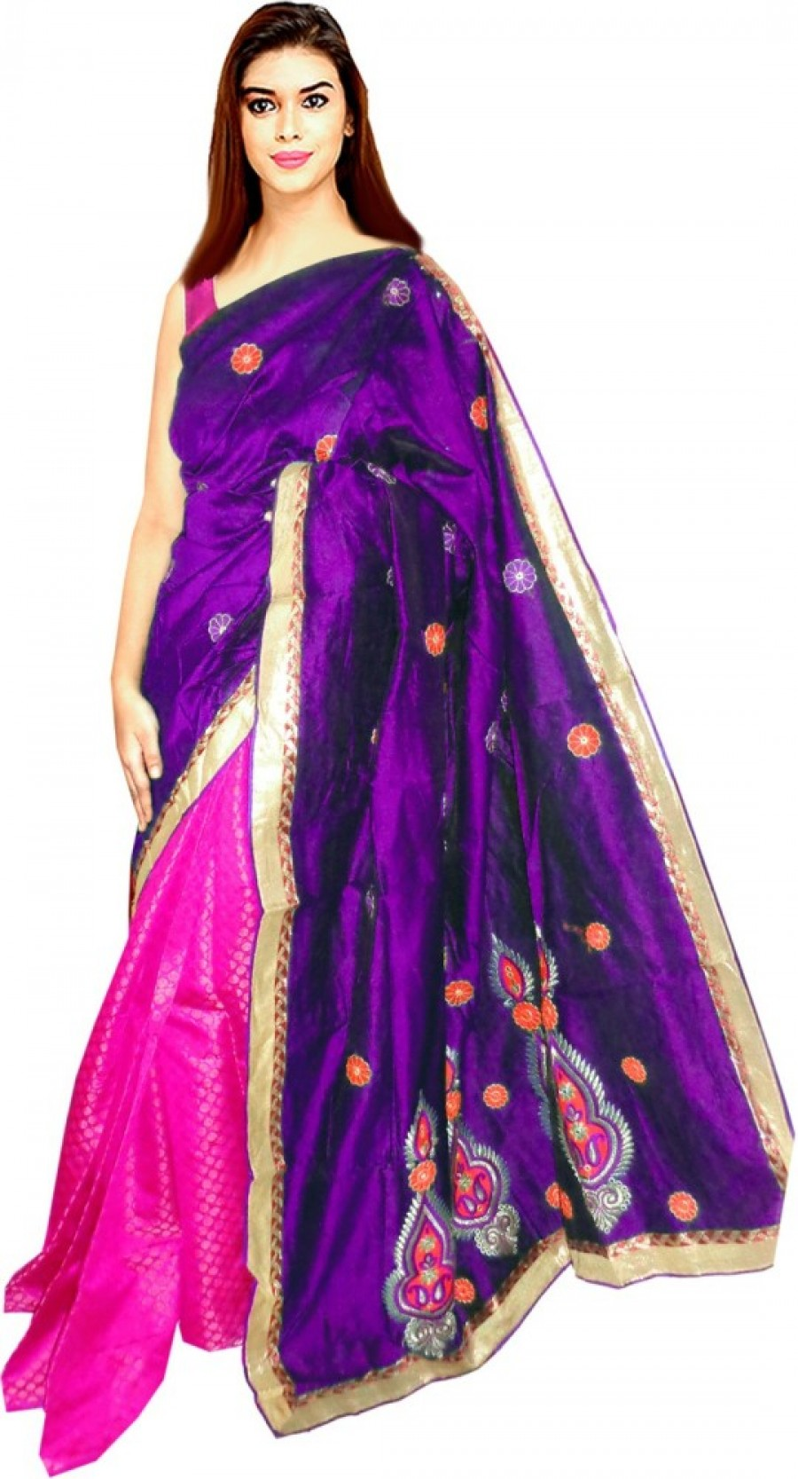 Buy Tyra Sarees Embriodered Chanderi Dupion Silk Sari Online
