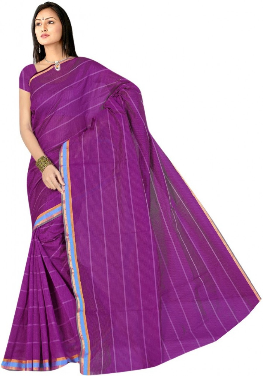 Buy SareeShop Plain Chanderi Polycotton Sari Online