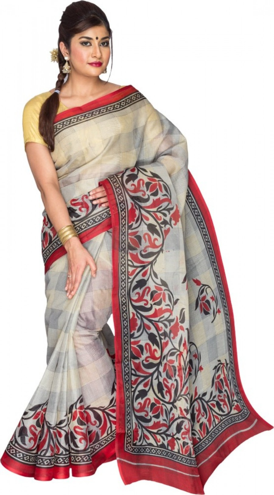 Buy Pavechas Checkered Daily Wear Polycotton Sari Online