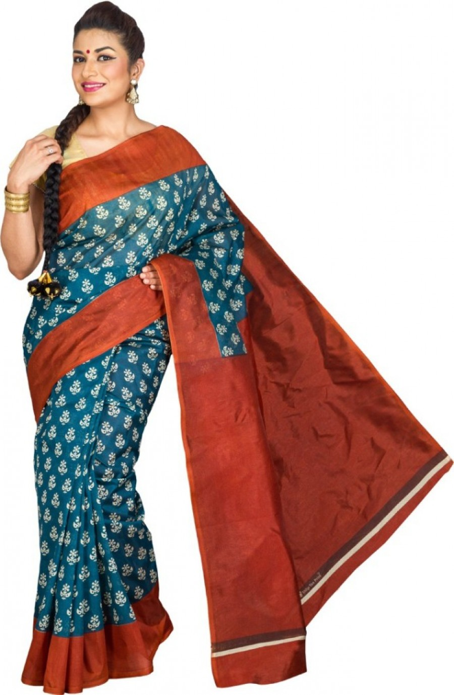 Buy Pavechas Printed Daily Wear Polycotton Sari Online