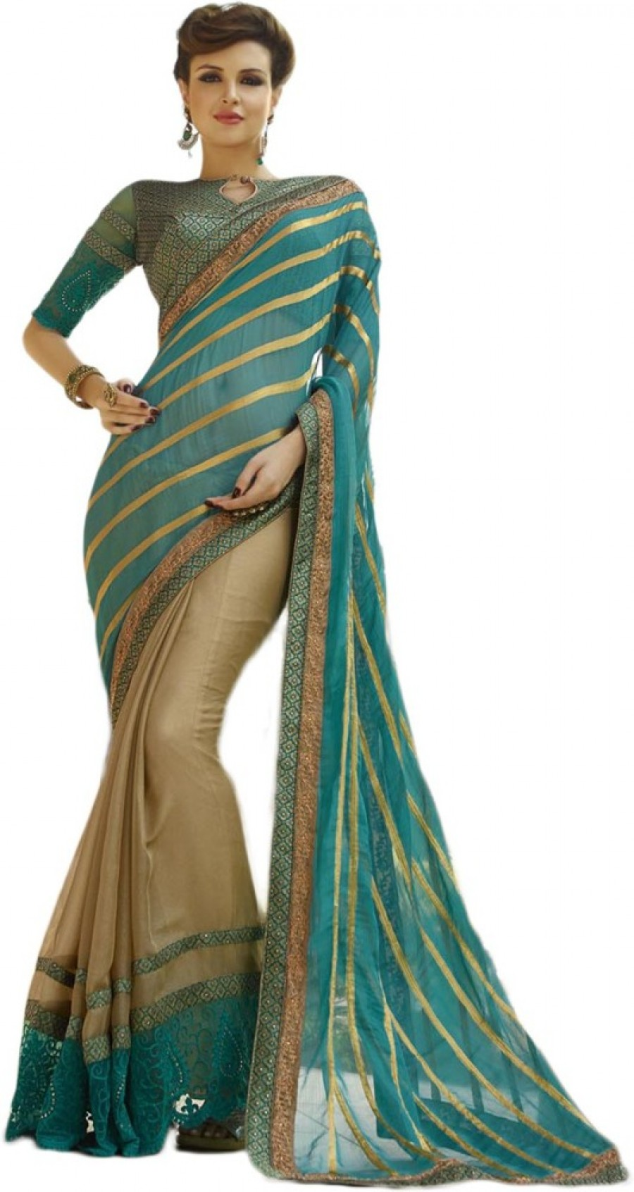 Buy Belletouch Embriodered Fashion Viscose Sari Online