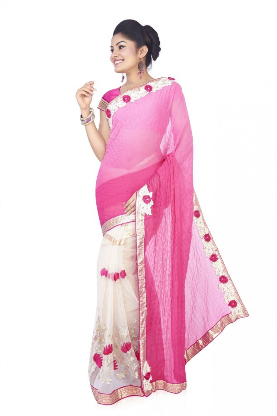 Buy Aanya Embellished Fashion Viscose Sari Online