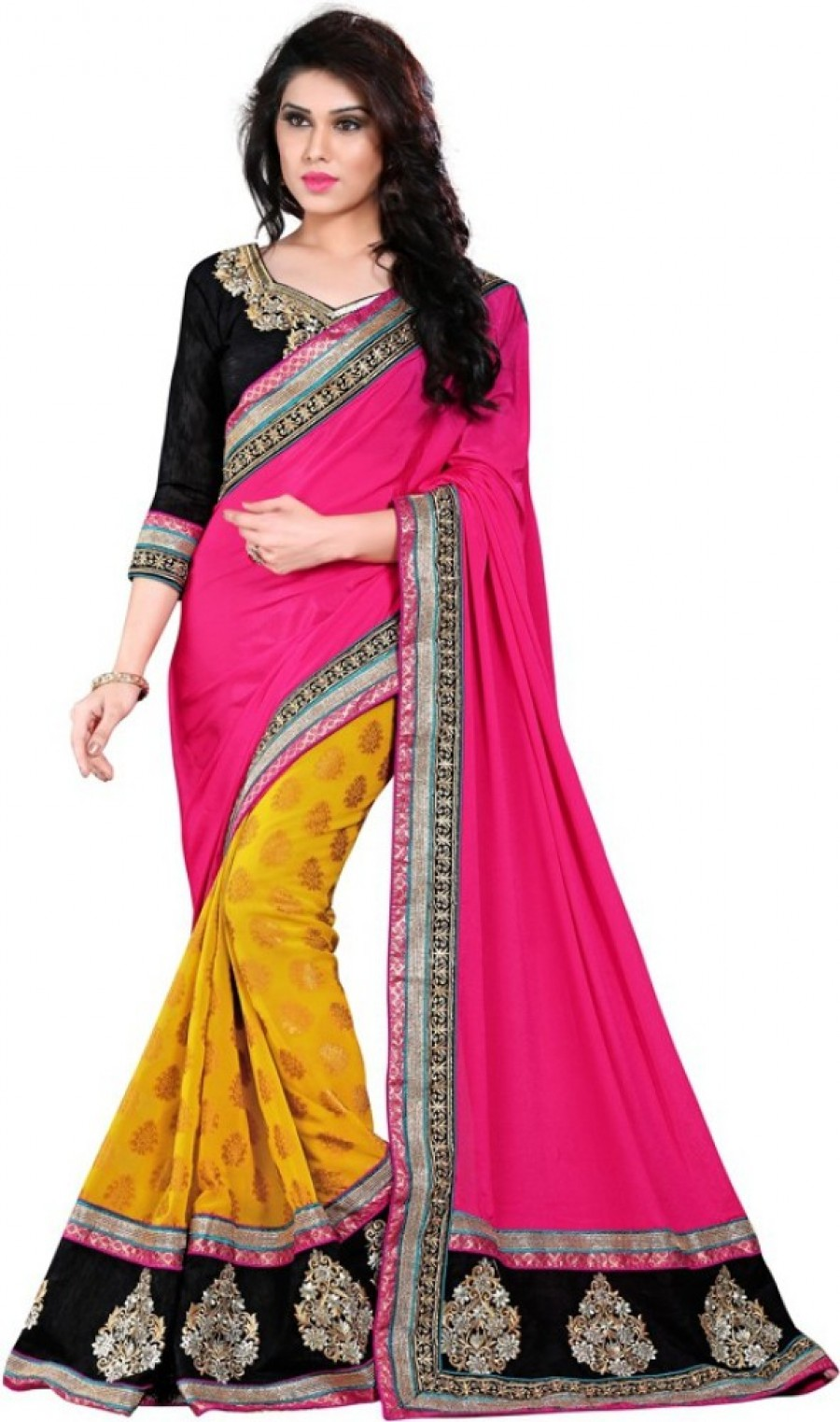 Buy Party Wear Dresses Embriodered Fashion Viscose Sari Online