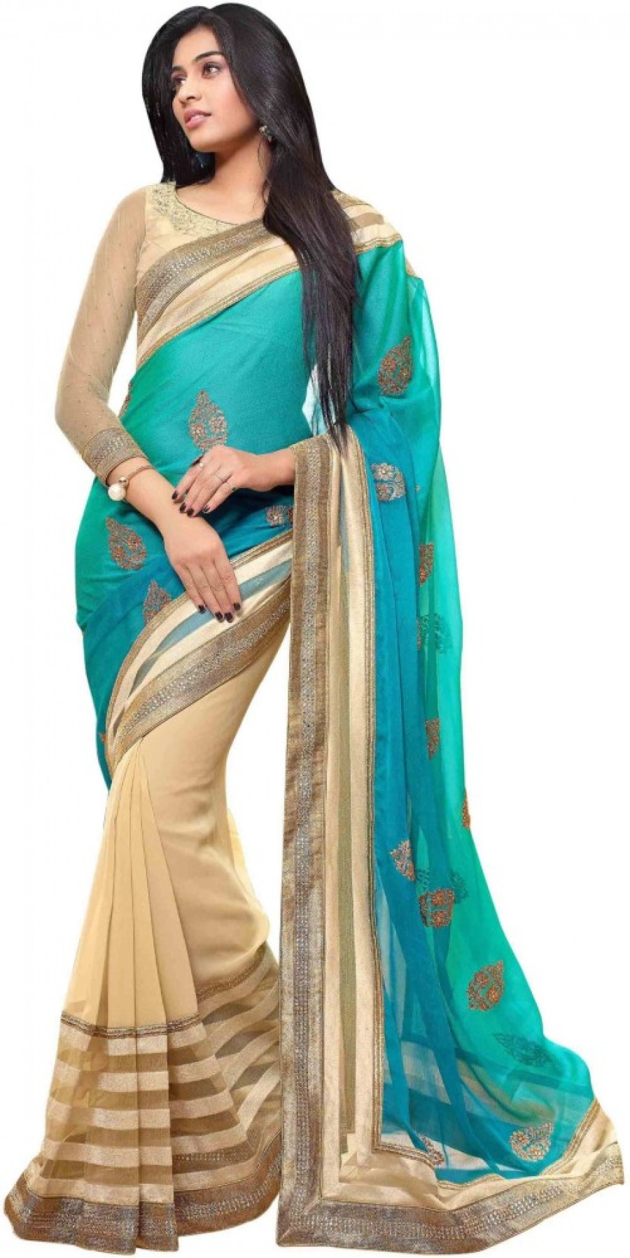 Buy Rajshri Fashions Embriodered Fashion Viscose Sari Online