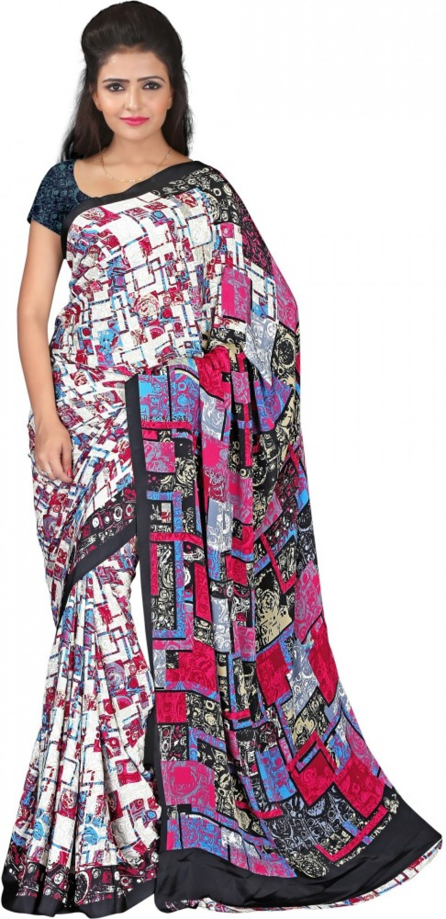 Buy Prafful Printed Fashion Crepe Sari Online