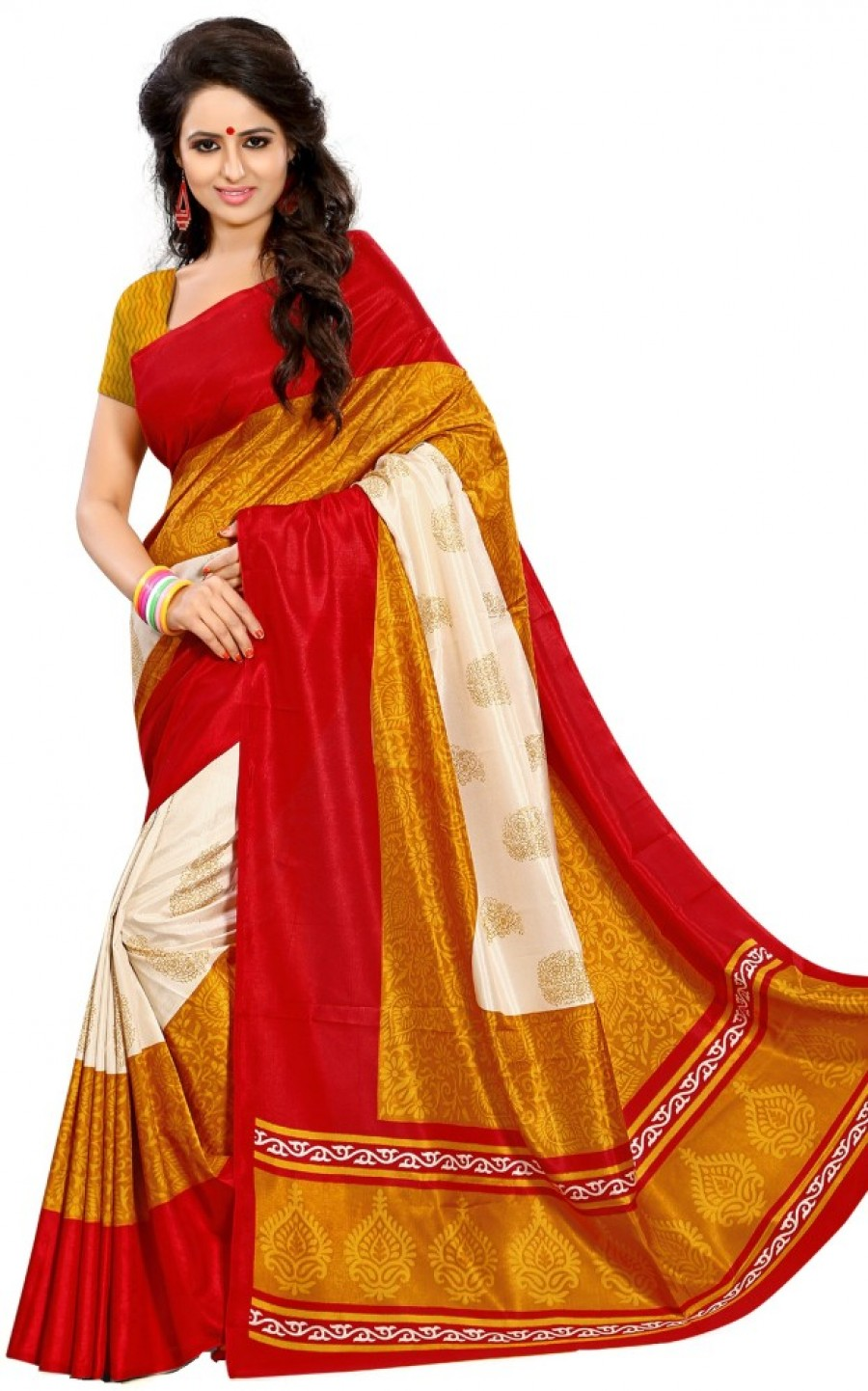 Buy Kjs Printed Bollywood Art Silk Sari Online