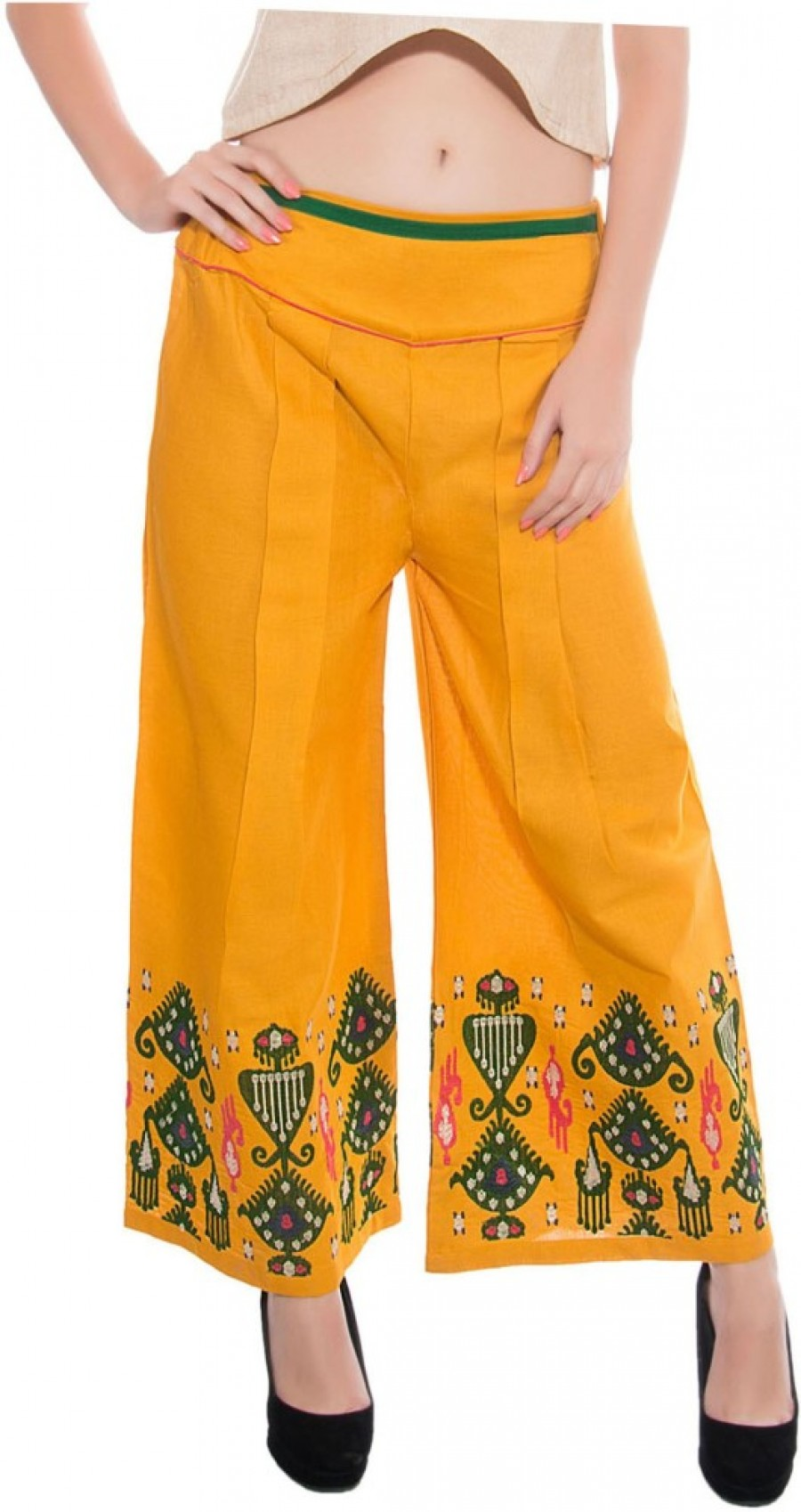 Buy Satrangi Regular Fit Women Yellow Trousers Online