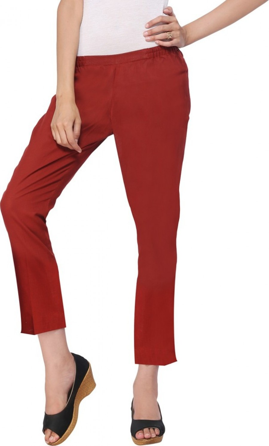 Buy Delfe Slim Fit Women Maroon Trousers Online