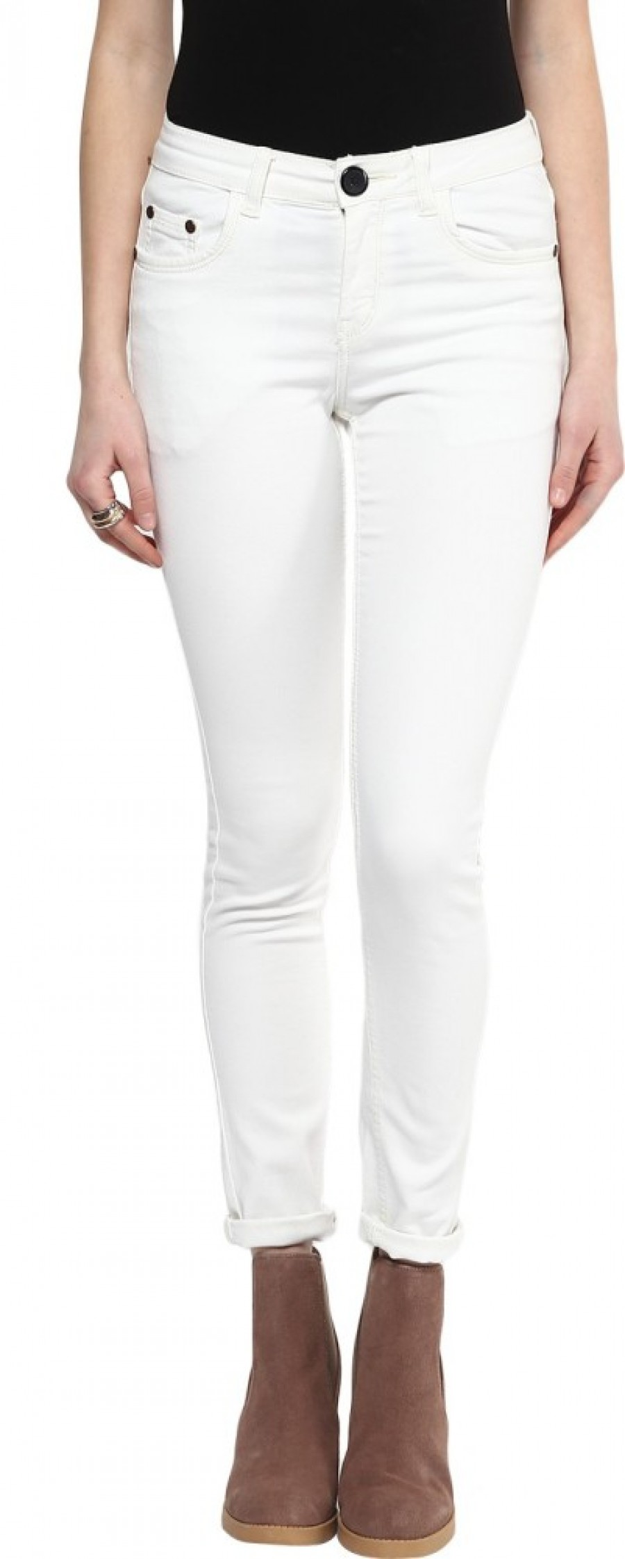 Buy 109F Slim Fit Women White Trouser Online