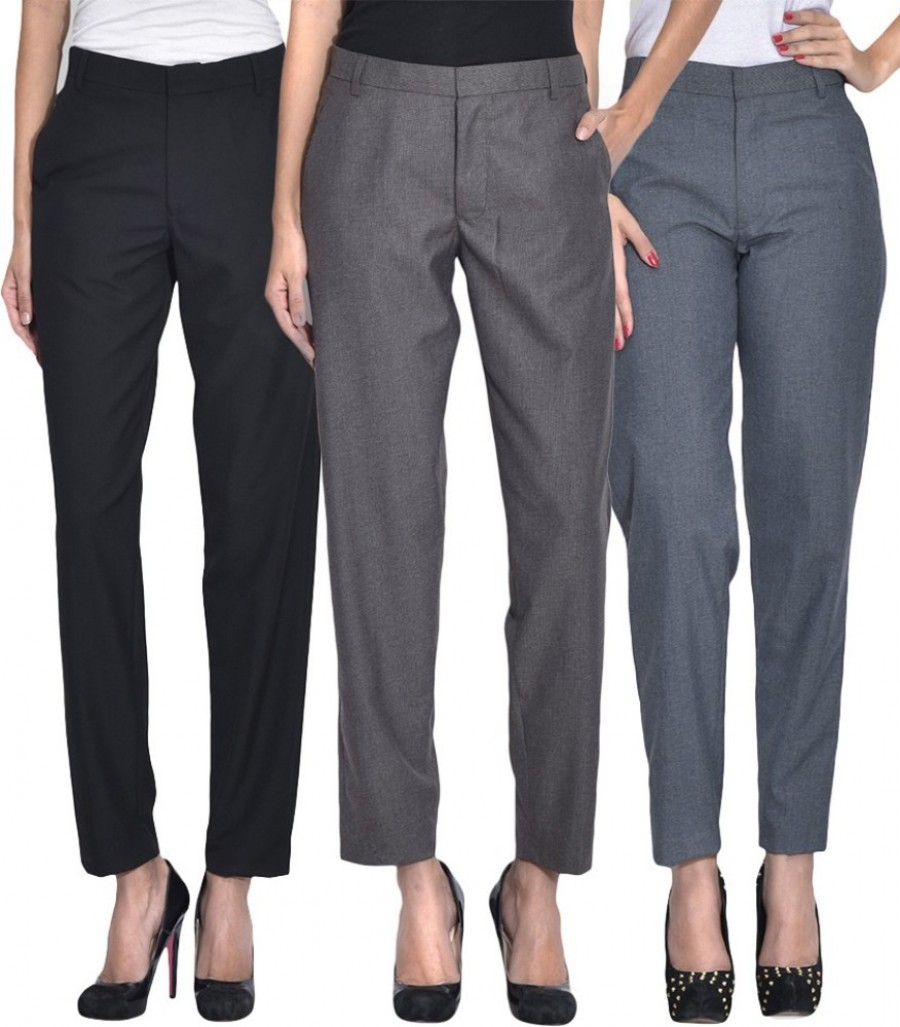 Buy Iheart Slim Fit Women Multicolor Trousers Online