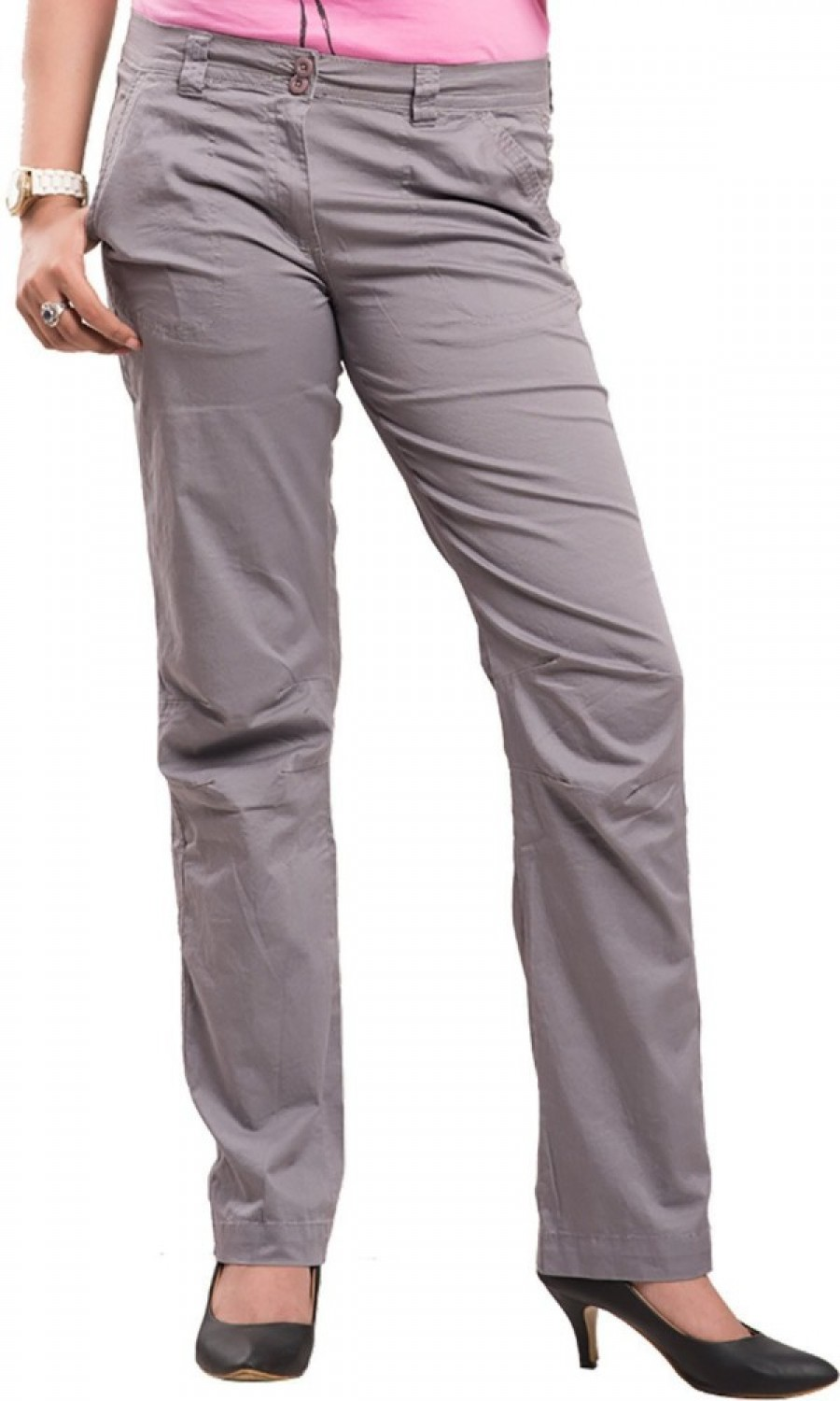 Buy Begonia Regular Fit Women Grey Trousers Online