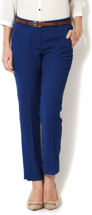 Buy Allen Solly Regular Fit Women Blue Trousers Online