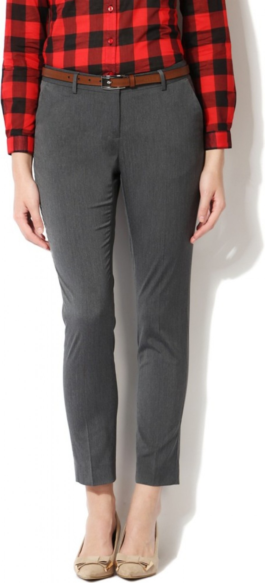 Buy Allen Solly Regular Fit Women Grey Trousers Online