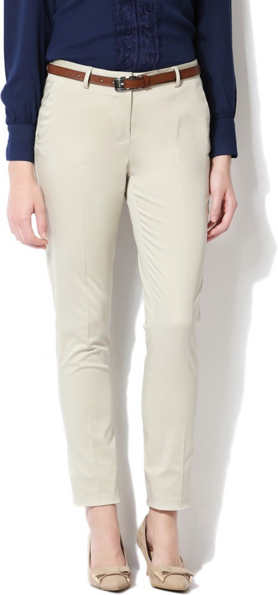 Buy Allen Solly Regular Fit Women Beige Trousers Online