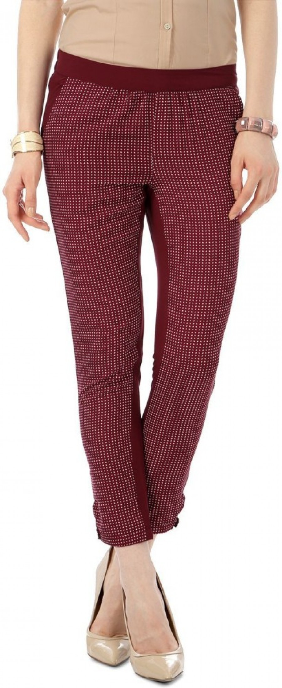 Buy Annabelle by Pantaloons Skinny Fit Women Maroon Trousers Online