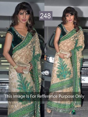 Buy Priyanka Green and Beige Color Net Saree Online