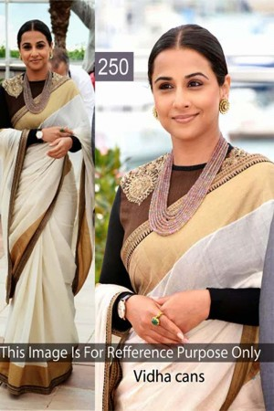 Buy Vidhya Balan White Color Silk Saree Online